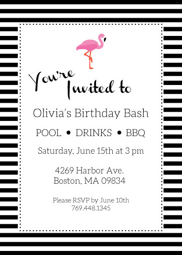 Striped Flamingo Invitation